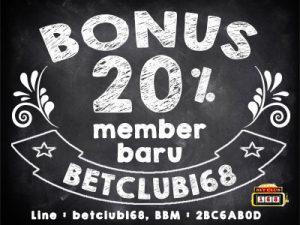 bonus 20 agen judi online